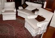Sale 8107B - Lot 85 - A Three piece lustre velour lounge suite in oyster