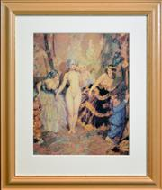Sale 8282A - Lot 5 - Norman Lindsay (1878 - 1969) - The Curtain 51 x 40cm