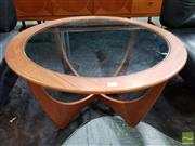 Sale 8493 - Lot 1079 - G-Plan Round Atmos Teak Glass Top Coffee Table