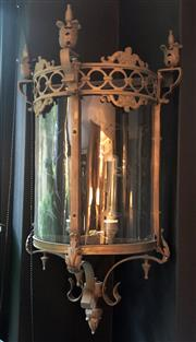 Sale 8568A - Lot 130A - A Gothic style solid bronze half lantern, converted to electricty and re-wired to Australian safety standards, H 75cm, ex Egypt, Cairo