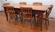 Sale 8815A - Lot 27 - A pine kitchen table and six chairs, Height 78cm, Width 202cm, Depth x 81cm