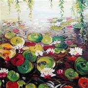 Sale 8870 - Lot 2013 - India B - Lily Pond 102 x 102cm
