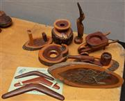 Sale 8984H - Lot 307 - A Group lot of mulga wood including souvenir boomerangs, a vase and cannon.