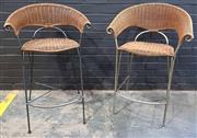 Sale 9009 - Lot 1077 - Pair Of Metal & Cane Barstools (H99 x W65 x D49)