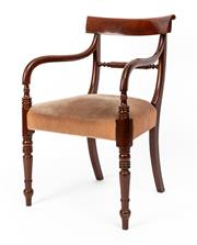 Sale 9015J - Lot 31 - Another traditional Australian cedar colonial style elbow chair, a pair to the previous chair C: Mid 1900s, having the same back, s...