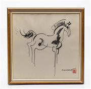 Sale 9040 - Lot 56 - A framed Chinese Picture Of A Horse (39cm x 39cm)