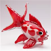 Sale 9073 - Lot 100 - A large red art glass figure of a koi  (L28cm)