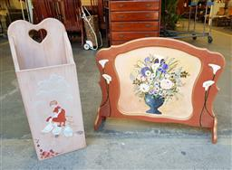 Sale 9102 - Lot 1132 - Hand painted timber fire screen & umbrella stand (Stand - h:77 x w:29 x d:16cm)