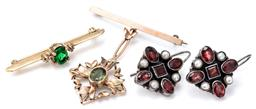 Sale 9124 - Lot 513 - TWO SILVER GILT BROOCHES AND SILVER EARRINGS; a bar brooch set with a green and 2 white pastes, length 40mm, a 40mm bar brooch suspe...