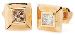 Sale 9124 - Lot 405 - A PAIR OF 18CT GOLD SOLITAIRE DIAMOND STUD EARRINGS; each bezel set with a Princess cut diamond to gold surround and screw back post...