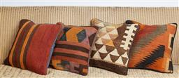 Sale 9123J - Lot 107 - Four throw cushions repurposed from Antique Kilim rugs, each with inserts and each approx 40 x 40cm