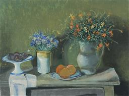 Sale 9178 - Lot 526 - MARGARET OLLEY (1923 - 2011) - Still Life with Flowers, Plums & Oranges 65.5 x 88 cm (frame: 107 x 128 x 5 cm)