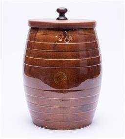 Sale 9185E - Lot 9 - A Lithgow pottery barrel with timber lid, Height 32cm