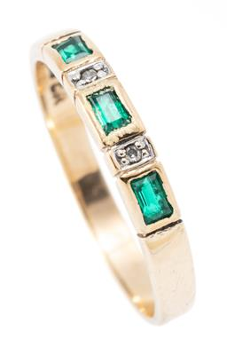 Sale 9182 - Lot 350 - A 9CT GOLD EMERALD AND DIAMOND BAND; set across the top with 3 rectangular cut synthetic emeralds and 2 single cut diamonds, width 3...