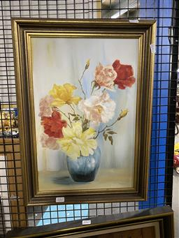 Sale 9176 - Lot 2062 - Ruth Fraser Bowl of Mixed Roses oil on board 44.5 x 29.5 cm, signed lower right -