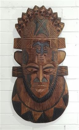Sale 9188 - Lot 1270 - Carved timber tribal mask ( 85 x 43cm)
