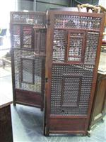 Sale 7919A - Lot 1711 - Fine Indian Carved & Finely Turned Fruitwood 3 Panel Screen with Inset Panel, Bay & 2 Windows