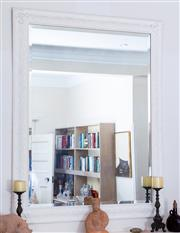 Sale 8800 - Lot 110 - A white painted rectangular mirror with foliate motif frame, W 110 x H 140cm