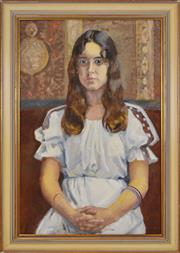 Sale 8374 - Lot 589 - Douglas Dundas (1900 - 1981) - Portrait of a Young Woman, 1977 74 x 49cm