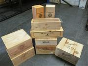 Sale 8385 - Lot 640 - 9x Assorted Timber Wine Crates & Magnum Presentation Boxes incl Grange, St Henri, Te Mata, Moss Wood, Clonakilla, Fevre & Bouchard