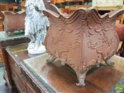 Sale 8416 - Lot 1086 - Pair of Cast Iron Garden Planters, of bombe form & with festoon relief