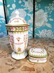 Sale 8500A - Lot 62 - A vintage style floral porcelain lidded urn & lidded set - Condition: AS New - Measurements: Lidded Urn 27cm high x 13cm wide & lidd...