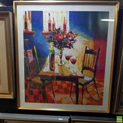Sale 8636 - Lot 2029 - Two Framed Lithographs Interior Scenes each SLR