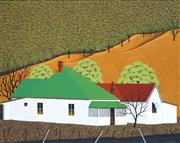 Sale 8708A - Lot 521 - Max Watters (1936 - ) - Railway Houses, Murrurundi 59 x 64cm