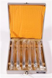 Sale 9015 - Lot 11 - Boxed Set of Six Vintage 'Japan Sword' stainless steel knives (L: 20cm)