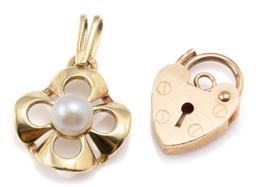 Sale 9128J - Lot 19 - GOLD PEARL PENDANT AND PADLOCK CLASP; 14ct quatrefoil pendant centring a 4.6mm round cultured Akoya pearl, length 19mm, and a 9ct he...