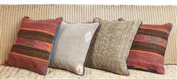 Sale 9123J - Lot 108 - Four throw cushions repurposed from Antique Kilim rugs, each with inserts and each approx 40 x 40cm