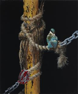 Sale 9170A - Lot 5023 - GARY ROBERTS The Old Rope oil on canvas 60 x 50 cm signed lower left, Remura Gallery label verso