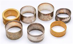 Sale 9173 - Lot 79 - A collection of napkin rings inc silver and bone examples