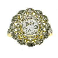 Sale 8221A - Lot 80 - 18ct Gold Filigree Old Cut Diamond Cluster Ring; featuring a centre diamond estimated at 0.88ct, surround to round brilliant cut dia...