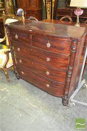 Sale 8267 - Lot 1092 - Regency Mahogany Bow Front Chest of Five Drawers, with half columns & turned feet