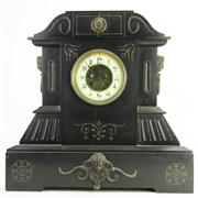 Sale 8391 - Lot 98 - Japy Frères Black Slate Mantle Clock