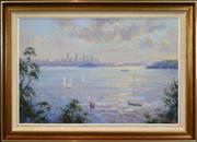 Sale 8401 - Lot 503 - Otto Kuster (1941 - ) - Sydney Harbour from Nelson Park 59 x 89.5cm