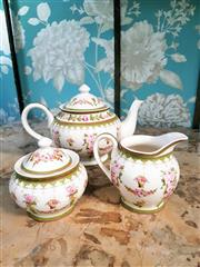 Sale 8500A - Lot 63 - A vintage style floral porcelain teapot, sugar & creamer set - Condition: As New - Measurements: Teapot 23cm wide x 13cm high, Cream...