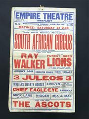 Sale 8539M - Lot 6 - Empire Theatre - South African Circus. Original day bill by W. E. Berry, dated Jan 8th 1951. 40 x 25cm, with Keith Absons handwri...
