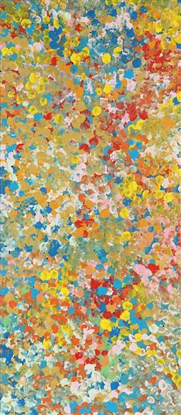 Sale 9154JM - Lot 5058 - JANET GOLDER KNGWARREYE (1973 - ) Yam Flower acrylic on canvas 95 x 42 cm (stretched & ready to hang) certificate of authenticity in...