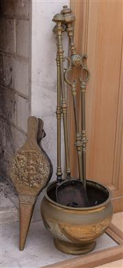 Sale 8908H - Lot 93 - A quantity of brass fire tools plus bellows and a jardinière. Height of jardinière 20cm