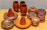 Sale 8984H - Lot 309 - A group of mulga wood inc. incense burners, wine goblets and lidded bowls