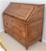Sale 9066H - Lot 63 - An oriental elm three-drawer bureau, the full front opening to reveal a fitted interior, with six drawers. H 118 W 124 D 59