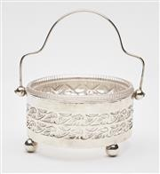 Sale 9085S - Lot 11 - Edwardian Sterling Silver sugar bowl, hallmarked Birmingham 1902, makers mark rubbed, with overall Art Nouveau pierced design, inclu...