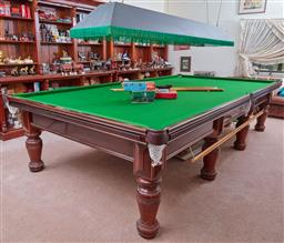 Sale 9103H - Lot 96 - Heiron and Smith full size billiard table together with all the necessary accoutrements including balls, cues, table brush, overhead...