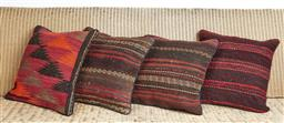 Sale 9123J - Lot 109 - Four throw cushions repurposed from Antique Kilim rugs, each with inserts and each approx 40 x 40cm
