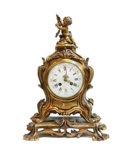 Sale 9150J - Lot 51 - Antique French gilt bronze rococo style mantle clock on fixed scroll base with key and pendulum, - Overall Ht: 44 cm