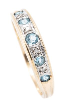 Sale 9182 - Lot 343 - A 9CT GOLD AQUAMARINE AND DIAMOND BAND; 4.5mm wide set across the top with 5 round cut aquamarines between 4 single cut diamonds, si...