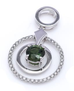 Sale 9194 - Lot 511 - AN 18CT WHITE GOLD DIAMOND AND TOURMALINE PENDANT; articulated double ring drop with round cut green tourmaline central pendant drop...