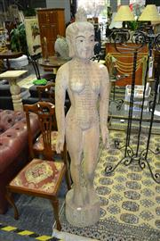 Sale 8019 - Lot 1001 - Vintage Chinese Timber and Gesso Female Acupuncture Dummy